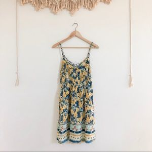 Forever 21 Yellow / Blue Floral Print Summer Dress